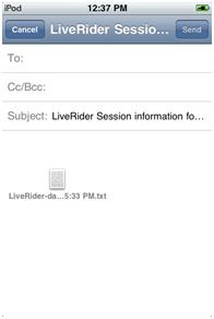 Email Saved Bike Rides for Liverider Cycling Computer